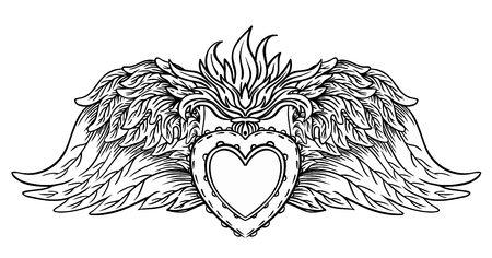 Sacred Heart of Jesus with rays. Vector illustration black isolated on white. Trendy Vintage style element. Spirituality, occultism, alchemy, magic, love. Coloring book for adults. Illustration