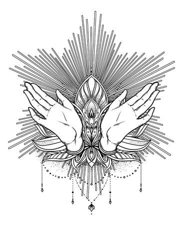 Manos De Rogación Con El Tatuaje Rosario / Vector Ilustraciones ...