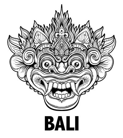 Barong. Traditioneel ritueel Balinees masker. Vector decoratieve sierlijke overzichtsillustratie geïsoleerd. Hindoes etnisch symbool, tattoo kunst, yoga, Bali spirituele ontwerp voor print, posters, t-shirts, textiel.
