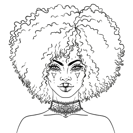 African American pretty girl. Vector Illustration of Black Woman with temporary tattoos or face paint on her face and neck . Great for avatars. Coloring book for adults.