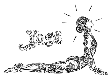 tantra: Young pretty girl doing yoga. Vintage decorative vector illustration. Hand drawn background. Mehenidi ornate decorative style. Yoga studio  concept, Indian, Hindu motifs. Coloring book for adults.
