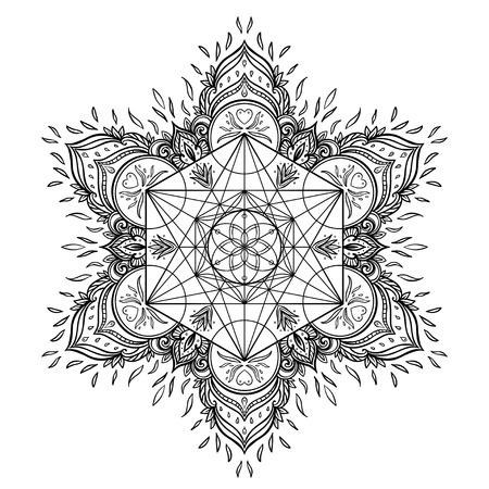 Dekorative Mandala runde Muster mit heiligen Geometrie Element Metatron Cube, kraftvolles Symbol, Blume des Lebens. Alchimie, Philosophie, Spiritualität. Design-Musik-Cover, T-Shirt, Poster, Flyer. Astrologie.