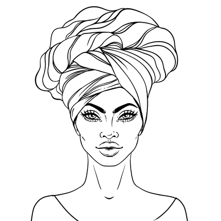 African American pretty girl. Vector Illustration of Black Woman with glossy lips and turban. Great for avatars. Illustration isolated on white. Coloring book for adults. Face chart.