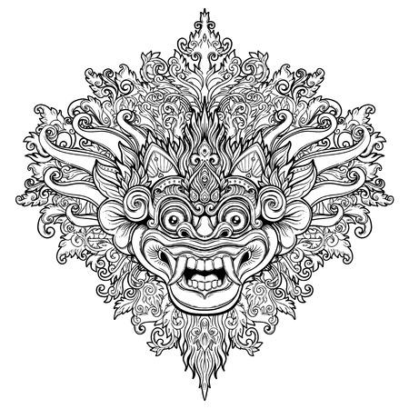 Barong. Masque ritual traditionnel balinais. Vector décoratif orné contour illustration isolée. Symbole ethnique hindou, art de tatouage, yoga, design spirituel de Bali pour l'impression, les affiches, les t-shirts, les textiles. Vecteurs