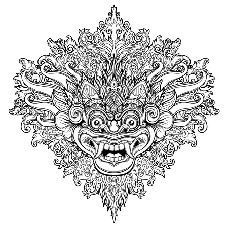 Barong. Traditioneel ritueel Balinees masker. Vector decoratieve sierlijke overzichtsillustratie geïsoleerd. Hindoes etnisch symbool, tattoo kunst, yoga, Bali spirituele ontwerp voor print, posters, t-shirts, textiel. Vector Illustratie