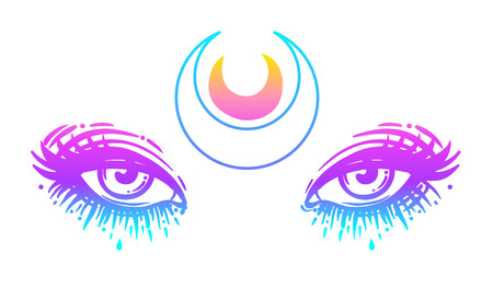 Mystic eyes in anime or manga style with a moon. Hand-drawn vector illustration isolated on white. Trendy print, alchemy, religion, spirituality, occultism. Rainbow colors. Vintage style.