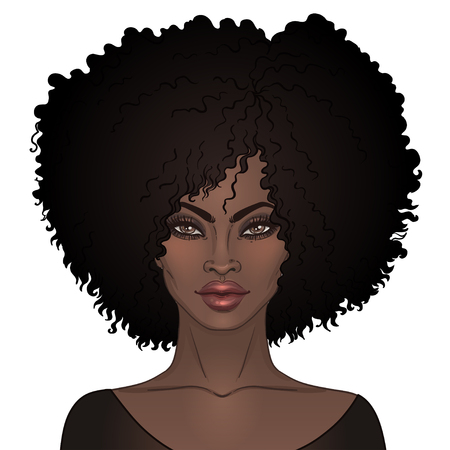 African American pretty girl. Vector Illustration of Black Woman with afro hairstyle  and neck . Great for avatars. Vettoriali