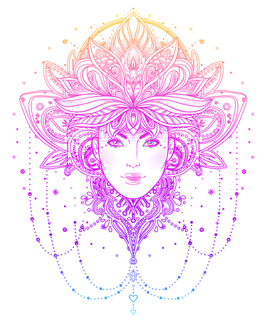 color tribal tattoo: Tribal Fusion Boho Diva. Beautiful Asian divine girl with ornate crown, kokoshnik inspired. Bohemian goddess. Hand drawn elegant illustration. Lotus flower, ethnic art, patterned Indian paisley.