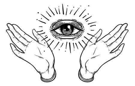 Öffnen Sie die Hand mit dem alles sehenden Auge auf der Handfläche. Okkulte Design-Vektor-Illustration. Dotwork Tinte Tattoo Flash-Design. Vektorabbildung getrennt auf Weiß. Astrologie, Heiliger Geist. Freimaurerzeichen. Vektorgrafik