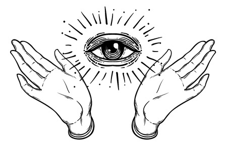 Open hand with the all-seeing eye on the palm. Occult design vector illustration.  Dotwork ink tattoo flash design. Vector illustration isolated on white. Astrology, Sacred Spirit. Masonic sign. Illustration
