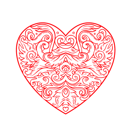 lace pattern: Ornamental Balinese style heart.  Vector Valentines day ornate outline illustration isolated. Hindu ethnic symbol, tattoo art, yoga, Bali spiritual design for print, posters, t-shirts, textiles. Illustration