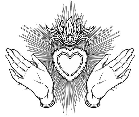 Weibliche offene Hände um heiliges Herz von Jesus. Hoffe Glauben und Hilfe, Hilfe und Unterstützung Symbol. Schwarz-Weiß-Vektor-Illustration im Vintage-Stil isoliert auf weiß Standard-Bild - 78944347