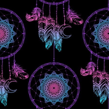 talisman: Hand drawn Native American Indian talisman dreamcatcher with feathers and moon. Seamless pattern. Vector hipster illustration. Ethnic design, boho chic, tribal symbol. Good fabric, textile, walpaper