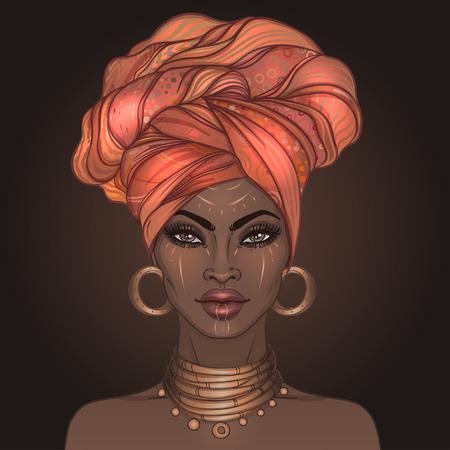 African American niña bonita. Ilustraciones Vectoriales de mujer negra con labios brillantes y turbante. Ideal para avatares. Ilustración aislada en negro.