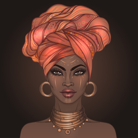 African American pretty girl. Vector Illustration of Black Woman with glossy lips and turban. Great for avatars. Illustration isolated on black.