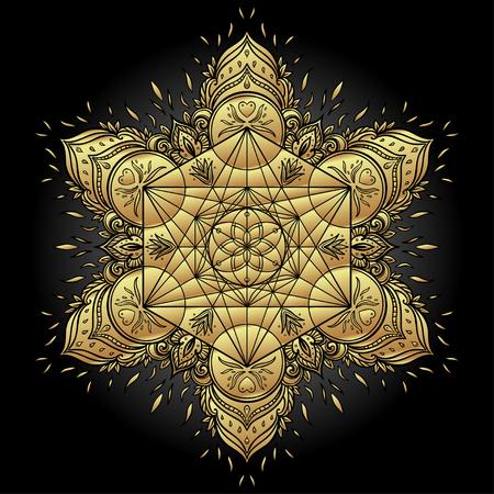 신성한 형상 요소와 장식 만다라 라운드 패턴 Metatron 큐브, 강력한 상징, 생명의 꽃. 연금술, 철학, 영성. 디자인 음악 커버, 티셔츠, 포스터, 전단지. 점 일러스트