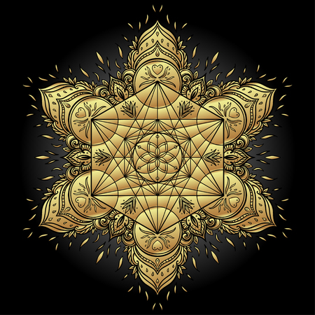 Decorative mandala round pattern with sacred geometry element Metatron Cube, powerful symbol, Flower of Life. Alchemy, philosophy, spirituality. Design music cover, t-shirt, poster, flyer. Astrology. Ilustração