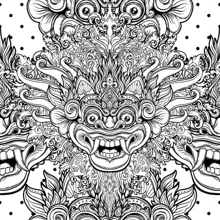 Barong. Traditioneel ritueel Balinees masker. Vector decoratief overladen overzichts zwart-wit naadloos patroon. Hindoes etnisch symbool, tattoo kunst, yoga, Bali spirituele ontwerp voor print, t-shirt, textiel.