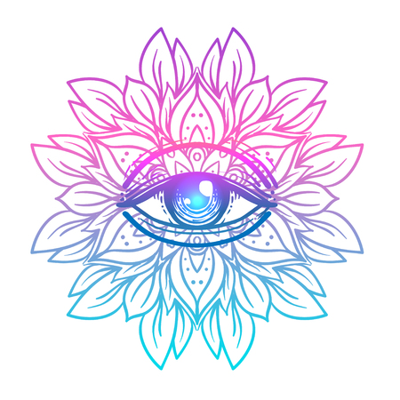 Sacred geometry symbol with all seeing eye in acid colors. Mystic, alchemy, occult concept. Design for indie music cover, t-shirt print, psychedelic poster, flyer. Astrology, esoteric, religion. Vectores