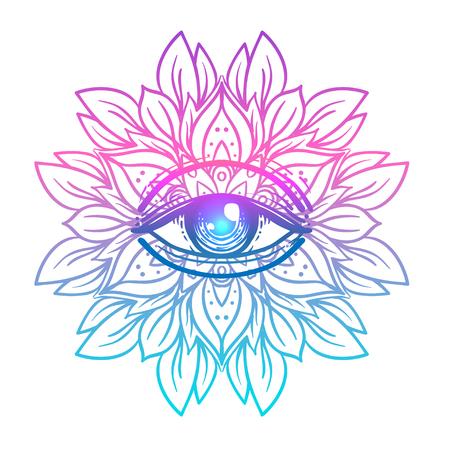 Simbolo di geometria sacra con tutto l'occhio visivo nei colori acidi. Concetto mistico, alchimia, occulto. Design per copertina musicale indie, stampa t-shirt, poster psichedelico, volantino. Astrologia, esoterismo, religione. Vettoriali