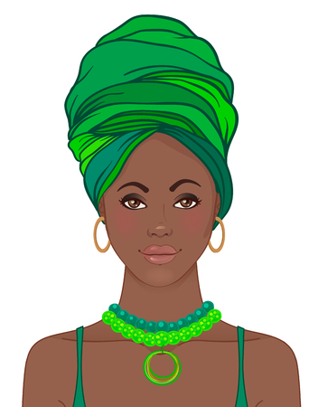 exotics: Portrait of beautiful African woman in turban. Tribal style fashion. Native Africa inspired.
