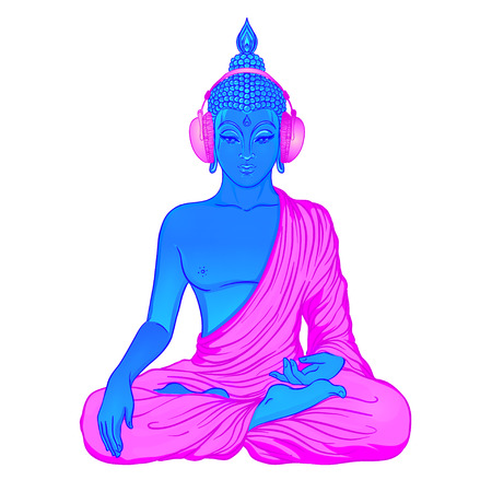 logo music: Modern Buddha listening to the music in headphones in neon colors isolated on white. Vector illustration. Vintage psychedelic composition. Indian, Buddhism, trance music. Sticker, patch design.
