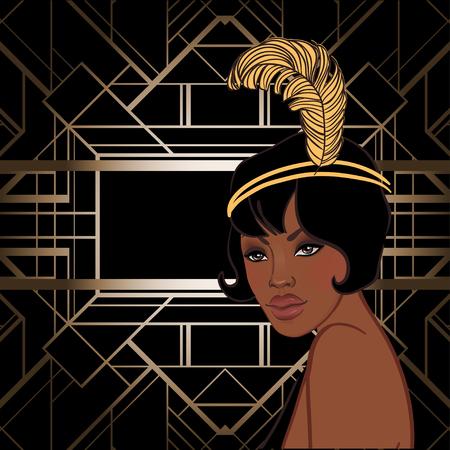 Moda retrò: ragazza glamour degli anni Venti (donna afroamericana). Illustrazione vettoriale Flapper anni '20. Modello di progettazione invito festa vintage. Fantastica signora nera.