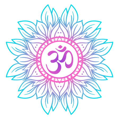 Diwali Om symbol with mandala . Round Pattern. Vintage style decorative vector elements. Hand drawn background. Indian, Great design for tattoo, yoga studio, spirituality concepts, trendy textiles.