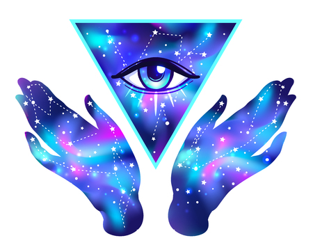 Open hands with galaxy inside open around masonic symbol. New World Order. Hand-drawn alchemy, religion, spirituality, occultism. Vector isolated on white. Astrology, Sacred Spirit. Vectores