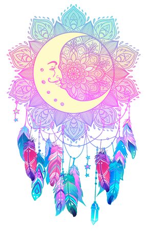Hand drawn Native American Indian talisman dreamcatcher with feathers, moon. Vector hipster illustration isolated on white. Ethnic design, boho chic, Blackwork tattoo flash. Coloring book for adults