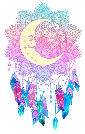 Dibujado a mano Native American Indian talismán dreamcatcher con plumas, luna. Ilustración del hipster del vector aislada en blanco. Diseño étnico, boho chic, flash del tatuaje de Blackwork. Libro para colorear para adultos