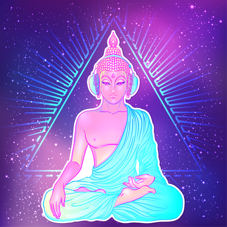Bouddha moderne écoutant la musique dans les écouteurs aux couleurs néon isolées sur blanc. Illustration vectorielle. Composition psychédélique vintage. Indien, bouddhisme, musique de transe. Autocollant, conception de patch.