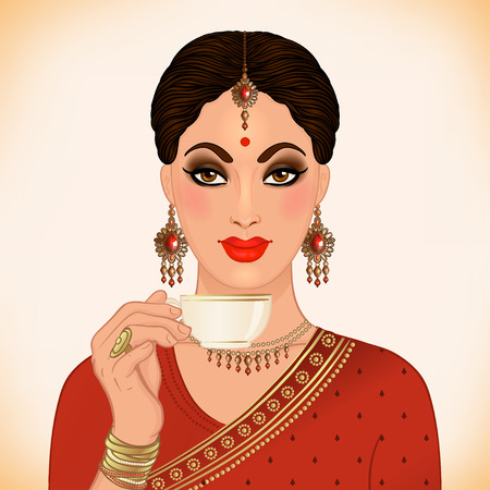 Beautiful Indian woman wearing traditional outfit drinking tea, holding a cup and hand drawn isolated on white background. Indian tea concept.