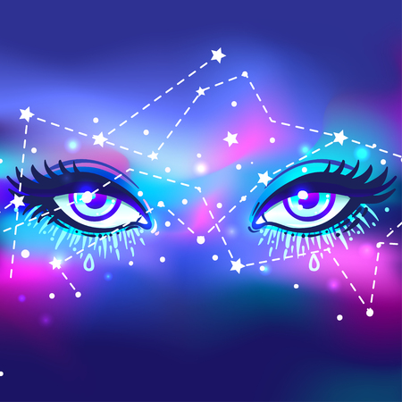 Galaxy in your eye. Vector bright colorful cosmos background. Magic fairy face, nebula make up with stars. Hand-drawn Eye of Providence. Alchemy, religion, spirituality, occultism, tattoo art. Illustration
