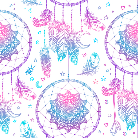 Hand drawn Native American Indian talisman dreamcatcher with feathers and moon. Seamless pattern. Vector hipster illustration. Ethnic design, boho chic, tribal symbol. Good fabric, textile, walpaper