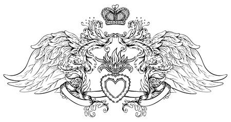Sagrado Corazón De Jesús Con Rayos Ilustración Vectorial Negro