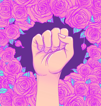 Womans hand with her fist raised up. Girl Power. Feminism concept. Realistic style vector illustration in pink  pastel goth colors isolated on white. Sticker, patch graphic design.