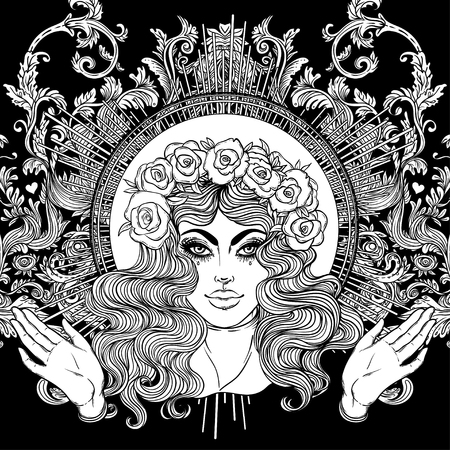 Madonna, Lady of Sorrow. Devotion to the Immaculate Heart of Blessed Virgin Mary, Queen of Heaven. Vector illustration isolated. Coloring book for adults. Tattoo design. Illustration