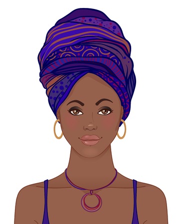 Portrait of beautiful African woman in turban. Tribal style fashion. Native Africa inspired.
