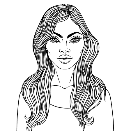 black hair girl: African American pretty girl. Vector Illustration of Black Woman with glossy lips and  long beautiful dark hair. Great for avatars. Illustration isolated on white. Coloring book for adults. Face chart Illustration