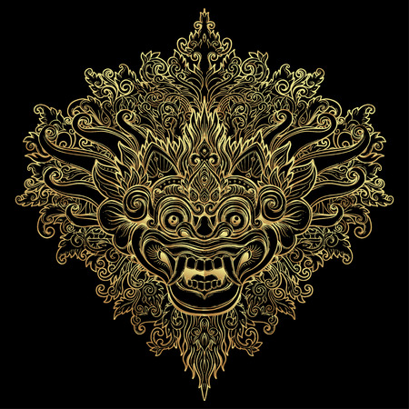 Barong. Traditioneel ritueel Balinees masker. Vector decoratieve sierlijke overzichtsillustratie geïsoleerd. Hindoes etnisch symbool, tattoo kunst, yoga, Bali spirituele ontwerp voor print, posters, t-shirts, textiel. Stock Illustratie