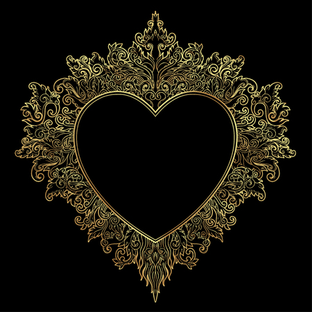 Ornamental Balinese style heart.  Vector Valentines day ornate outline illustration isolated. Hindu ethnic symbol, tattoo art, yoga, Bali spiritual design for print, posters, t-shirts, textiles. Illustration