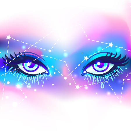 outer clothing: Galaxy in your eye. Vector bright colorful cosmos background. Magic fairy face, nebula make up with stars. Hand-drawn Eye of Providence. Alchemy, religion, spirituality, occultism, tattoo art. Illustration