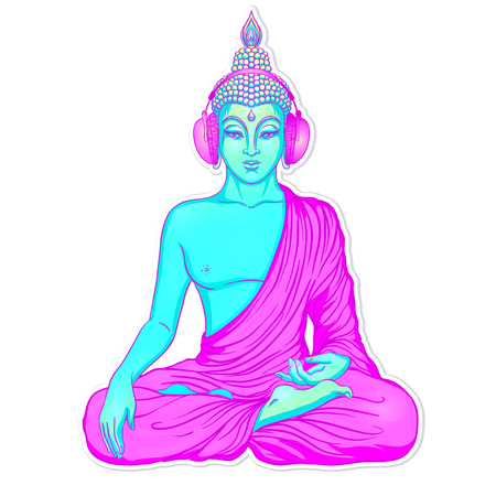 chillout: Modern Buddha listening to the music in headphones in neon colors isolated on white. Vector illustration. Vintage psychedelic composition. Indian, Buddhism, trance music. Sticker, patch design.