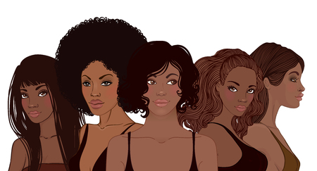 Group of African American pretty girls. Female portrait. Black beauty concept. Vector Illustration of Black Woman. Great for avatars. Fashion, beauty