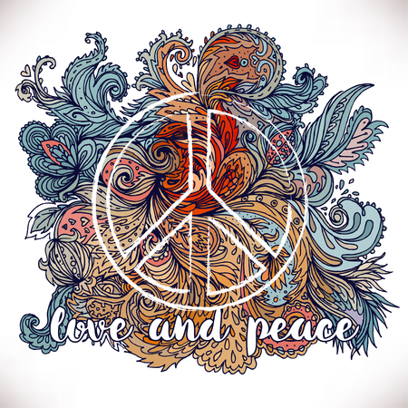 Peace Hippie Symbol over decorative ornate background.  Freedom, spirituality, occultism, textiles art. Vector illustration for t-shirt print isolated on white  background.