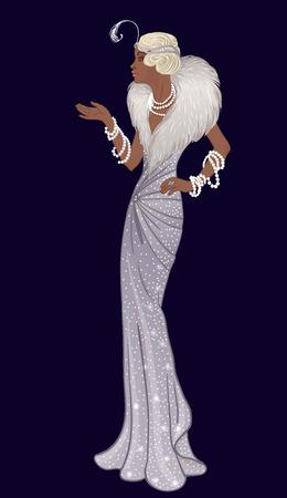 레트로 패션 : 20 대 (아프리카 계 미국인 여자)의 매력적인 여자. 벡터 일러스트 레이 션. 플래퍼 20의 스타일. 빈티지 파티 초대장 디자인 템플릿입니다. 멋진 흑인 아가씨.