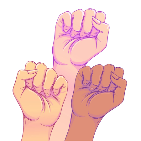 Fight like a girl. 3 Woman's hands with her fist raised up. Girl Power. Feminism concept. Realistic style vector illustration in pink  pastel goth colors. Sticker, patch graphic design. Иллюстрация