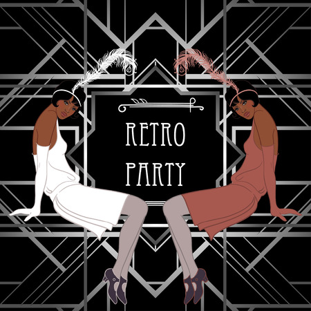 flapper: Retro fashion: glamour girl of twenties (African American woman). Vector illustration. Flapper  20s style. Vintage party invitation design template. Fancy black lady.