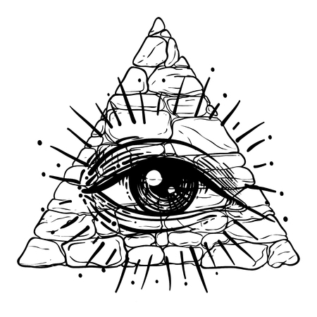 Eye of Providence. Masonic symbol. All seeing eye inside triangle pyramid. New World Order. Hand-drawn alchemy, religion, spirituality, occultism. Isolated vector illustration. Conspiracy theory.